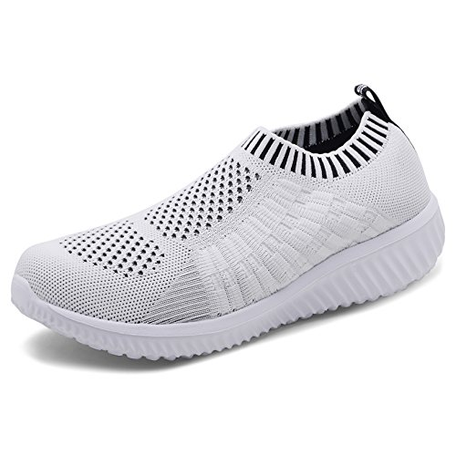 TIOSEBON Women's Athletic Walking Shoes Casual Mesh-Comfortable Work Sneakers 9.5 US White ()