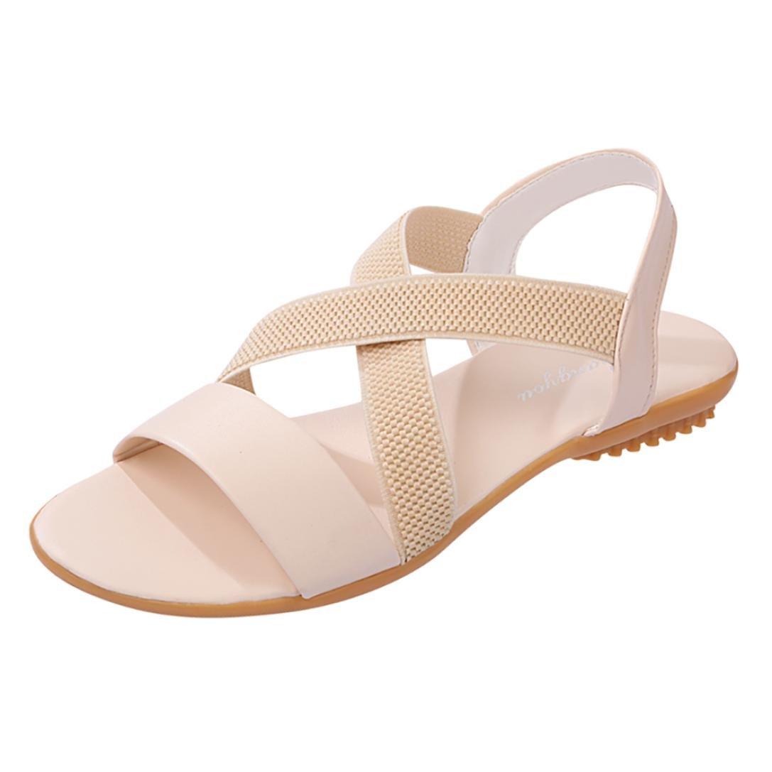 Sandales Pour Femmes,Femmes Chaussures Plates Perle Bohème Femmes Bas Talon  Anti Dérapage Beach Cross Strap Chaussures Sandales Peep-Toe Sandales  Chaussures ... 3bb6676f1042