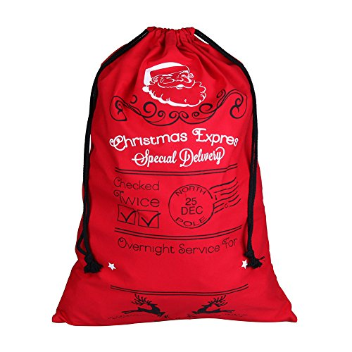 (Extra Large 39x27 inches Drawstring Santa Sack | Personalized Jumbo Santa Bags for Storing Christmas Gifts, Holiday Presents, Stocking Stuffers or Decorations )