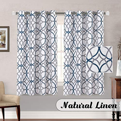 H.VERSAILTEX Living Room Linen Curtains Home Decorative Privacy Added Energy Saving Light Filtering Window Treatments Draperies for Short Window, 2 Panels, Grey and Navy Geo Pattern, 52 x 63 - Inch (Short For Curtains Living Room)