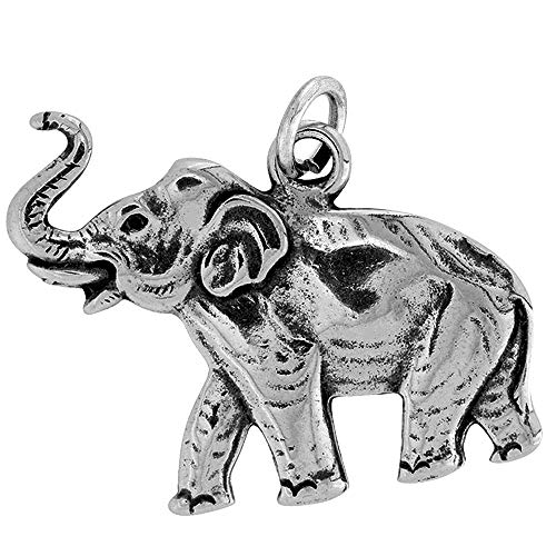 Raposa Elegance Sterling Silver Raised Trunk Elephant Charm (approximately 22 mm x 24 mm)