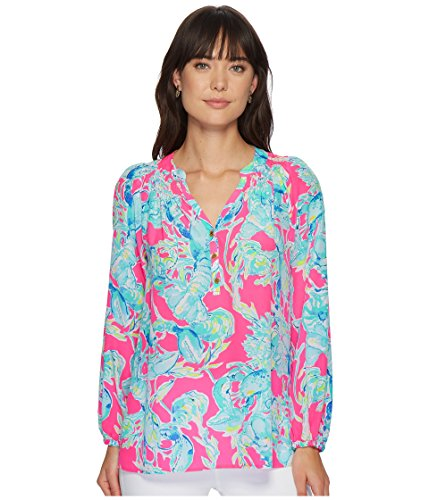 (Lilly Pulitzer Women's Elsa Top Raz Berry Lobsters in Love X-Large)