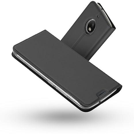 Radoo Funda Moto G5S, Slim Case de Estilo Billetera Carcasa Libro de Cuero,PU Leather con TPU Silicona Interna Suave [Función Soporte][Cierre ...