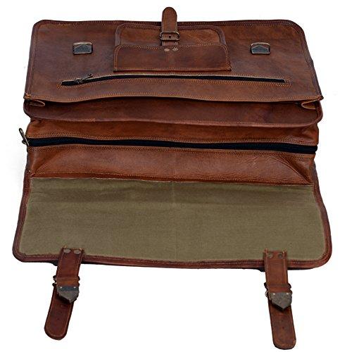 KPL 18 Inch Vintage Men's Brown Handmade Leather Briefcase Best Laptop Messenger Bag Satchel by Komal's Passion Leather (Image #4)