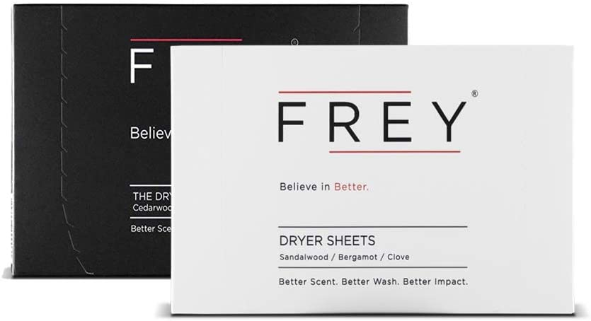 FREY Naturally Scented Dryer Sheets - 2 Pack of 40 Natural Laundry Dryer Sheets (80 Total) (Sweet & Bold Fragrance)