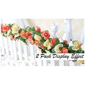 Meiliy 2 Pack 8.2 FT Fake Rose Vine Flowers Plants Artificial Flower Home Hotel Office Wedding Party Garden Craft Art Decor 2