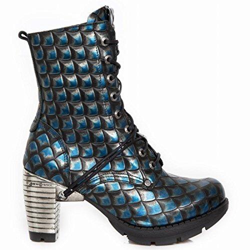 New Rock Boots M.tr001x-s17 Gotico Hardrock Punk Damen Stiefelette Blau