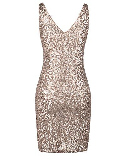 Neck Briller Bodycon Paillette Robe PrettyGuide Champagne Deep Club V Stretchy Femmes OqnXn0BwZt