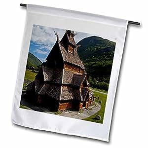 fl_82374_1 Danita Delimont - Churches - Norway, Laerdal. Borgund stave-church - EU21 CMI0366 - Cindy Miller Hopkins - Flags - 12 x 18 inch Garden Flag