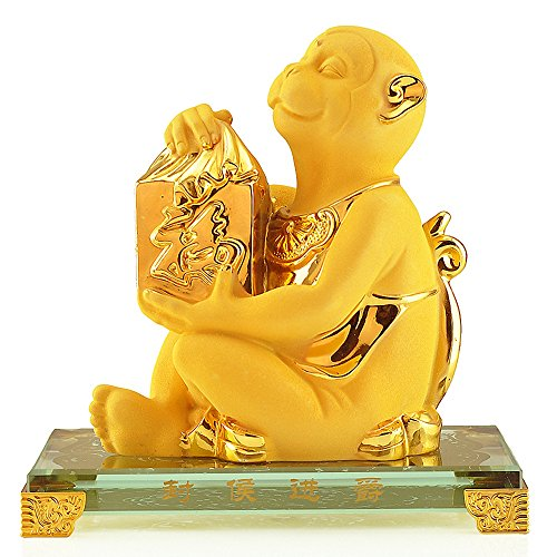 Wenmily Chinese Zodiac Monkey Golden Resin Collectible Figurines Table Decor Statue -