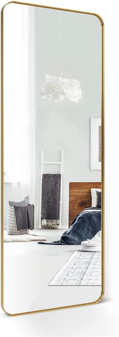 ANDY STAR Full Length Mirror, 18 x 48 Gold Metal Frame Full Length Wall Mounted Mirror, Wall Mirror for Bathroom, Bedroom, Living Room with Stainless Steel Metal Frame Hangs Horizontal Or Vertical