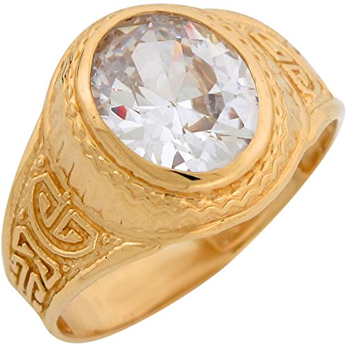 Jewelry Liquidation 10k Yellow Gold White CZ Greek Key Design Simulated April Birthstone Mens Ring