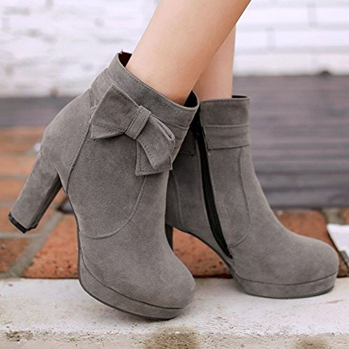 Zipper Heel With Women High Ankle Bowknot Boots COOLCEPT Comfort Chunky Gray xnXqfI4