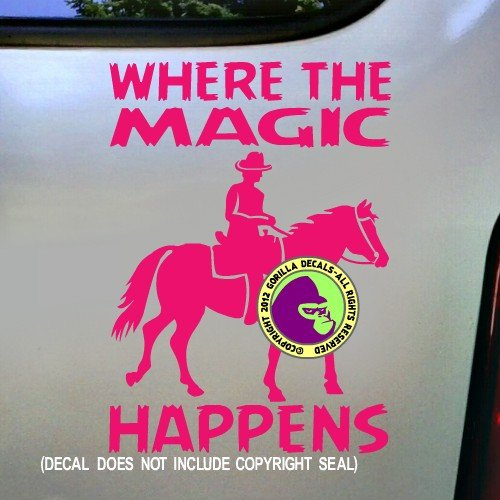 MAGIC HAPPENS Horse Rider Trail Riding Horseback Novelty Decal Vinyl Bumper Sticker Laptop Window Car Truck Trailer Wall Sign PINK
