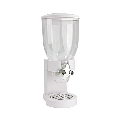 Dispensador De Cereales - Recipiente De Plástico Para Alimentos Secos Con Soporte (Blanco)