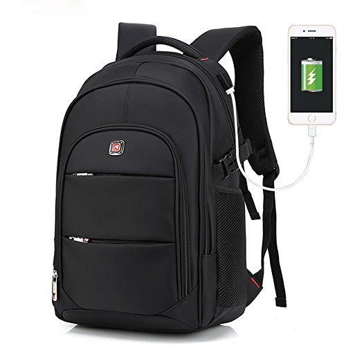 b8449912fdeb2 Laptop College Backpack Waterproof Lightweight Minimalism with USB Charging  Port Business School Book Bag Travel Hiking