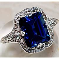 Sumanee Vintage Women 925 Silver Aquamarine Gemstone Ring Wedding Jewelry Size 6-10