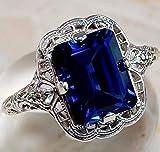 1PCS 925 Rings For Women Topaz Promise Princess Cut Gemstone Ring