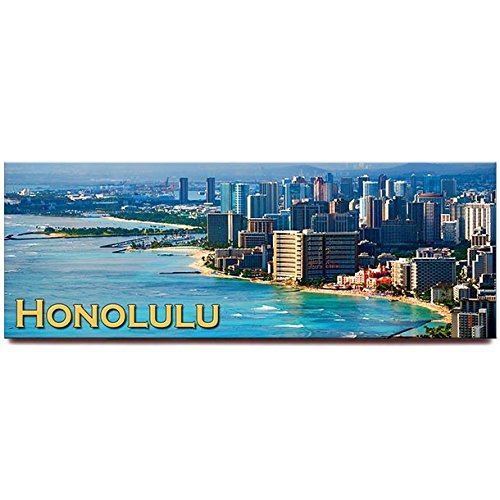 - Honolulu Waikiki panoramic fridge magnet Oahu, Hawaii travel souvenir