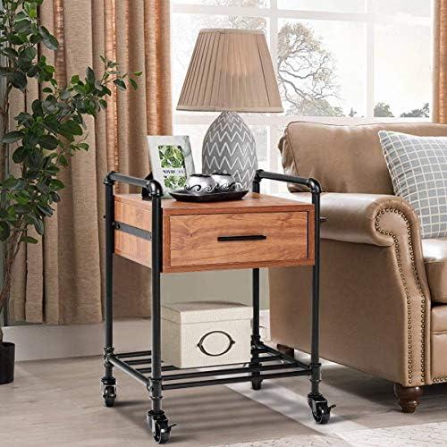 Casart Nightstand Side Table Industrial Style Vintage 2-Tier Side Table Rolling Cart Metal Frame W/Storage Shelf Drawer