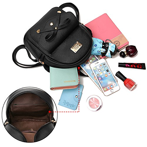 Leather Cute Small Mini Girls Fashion Purse Black Women Backpack And Daypacks Y7YCq