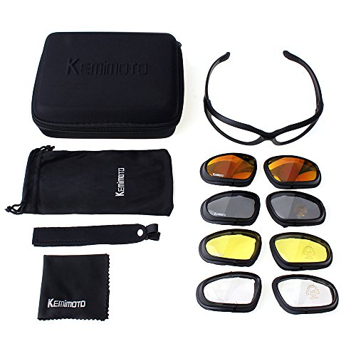 Motorcycle Glasses Riding Goggles, KEMIMOTO All Weather Protective Motorcycle Rider Goggles with 4 Lens Kit for Outdoor Activity Sport - Prescription Riding Glasses