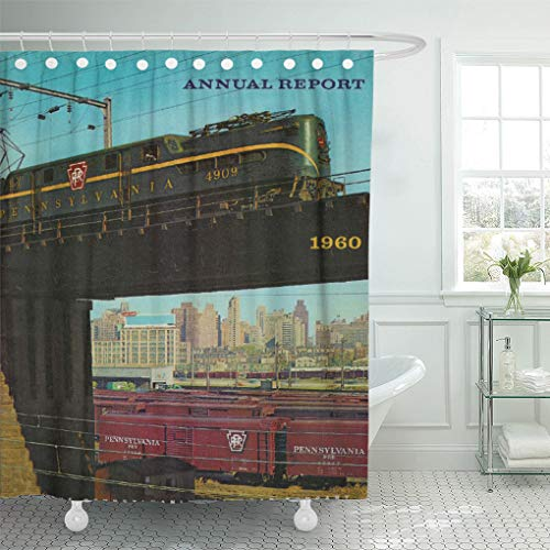 - Semtomn Shower Curtain Vintage Pennsylvania Railroad Annual Report Prr Gg1 Baldwin Locomotive 72