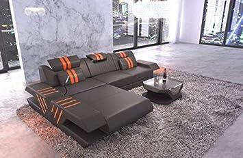 Sofa Dreams Ledersofa Venedig L Form Grau Orange Amazonde Küche