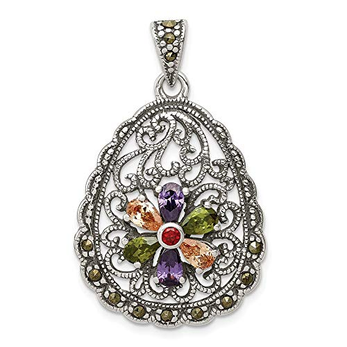 925 Sterling Silver Multicolor Cubic Zirconia Cz Marcasite Teardrop Pendant Charm Necklace Fine Jewelry Gifts For Women For Her