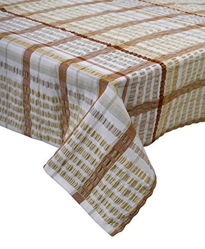 """(Seersucker 100% Cotton Tablecloths Kitchen Picnic Checked Table Linen 50"""" x 90"""" (Oatmeal))"""
