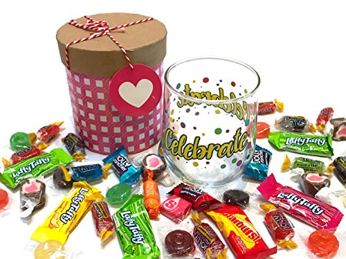 12 oz Birthday Wine Glass with Quality Candies - Birthday Gift - Birthday Present (Happy Birthday - Pink, Stemless, With Hard Candies) (Gift Basket For 65th Birthday)