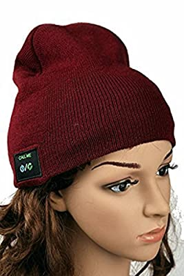 V.one Beanie Hat Bluetooth Earphone, Winter Cap Knit Wireless Headphones Headsets Earpiece Microphone for iPhone 6 6s Plus 5S 5 Samsung S6 Edege Plus Note 5 Running Outdoor Sports, Xmas Gift-Dark Red