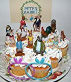 Peter Rabbit Deluxe Cake Toppers Cupcake Decorations Set with Figures and Toy BunnyBracelets featuring all the Popular Peter Rabbit Characters!