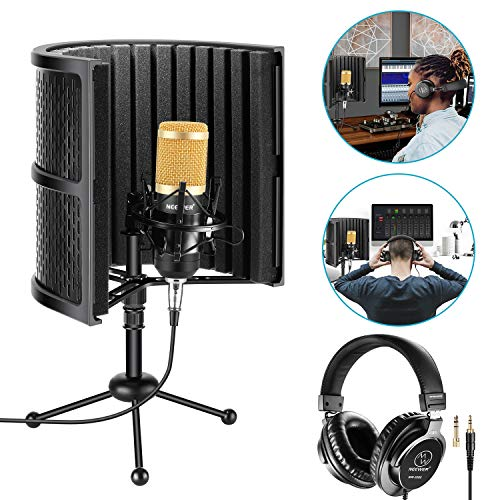 Neewer Tabletop Microphone Isolation Shield with Absorbing Foam, Conderser Microphone, Shock Mount, Tripod Stand, and Studio Monitor Headphones for Sound Recording Podcasts Singing Broadcasting etc