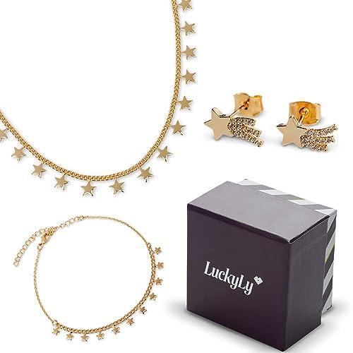 1d9c66277de4 LuckyLy - Set Juego de Joyería para Mujer Leah - Collar