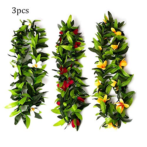 T-REASURE Hawaiian Party Decorations Wreaths,Tropical Butterfly Orchid Luau Leis Leaf Garland Necklace for Graduation Birthday Summer Beach Party Wedding Decorations Party Supplies