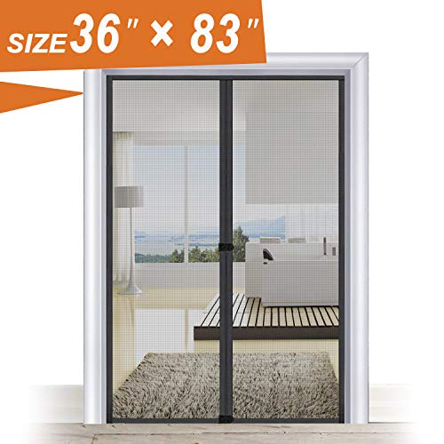 - Screen Door Mesh 36 x 83, Door Mesh Screen with Magnets Easily Close Open Fit Door Frame Size Up to 34W x 82H Max with with Full Frame Hook and Loop Black French Door Curtain by MAGZO