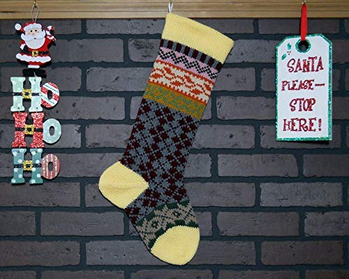 Argyle Christmas Stocking Hand Knit in Yellow Burgundy and Grey by Custombearhugs Can be Personalized