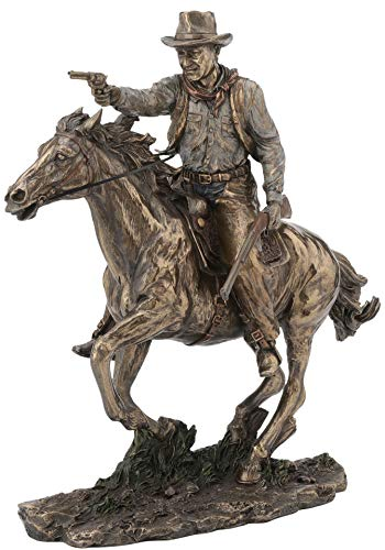Fighting Cowboy on Horseback with Pistol and Rifle Statue
