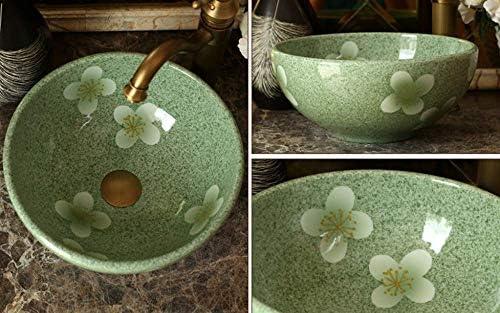 ZKS-KS アート磁器カウンタートップ浴室のシンクセラミック洗面手塗りの容器シンクバスルームのシンクの花30CM