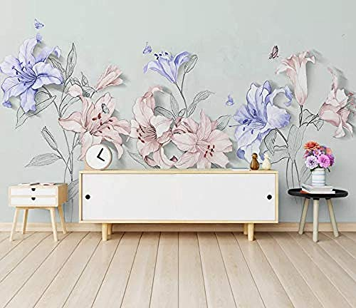 Hand Painted Lily - Mural 3D Wallpaper Hand Painted Lily Geometric Simplicity Modern Wall Paper for Living Room Bedroom Tv Wall Decor,200Cmx140Cm
