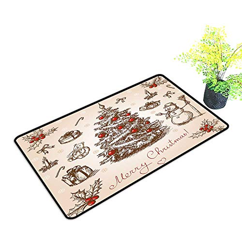 (gmnalahome Front Welcome Entrance Door Mats Hand Drawn Christmas Card in Vintage Stile Raster Version Vector Home Decor Rug Mats W39 x H15 INCH)