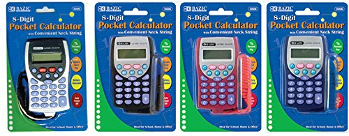 8-Digit Pocket Calculator w/ Neck String 144 pcs sku# 1860941MA by Bazic