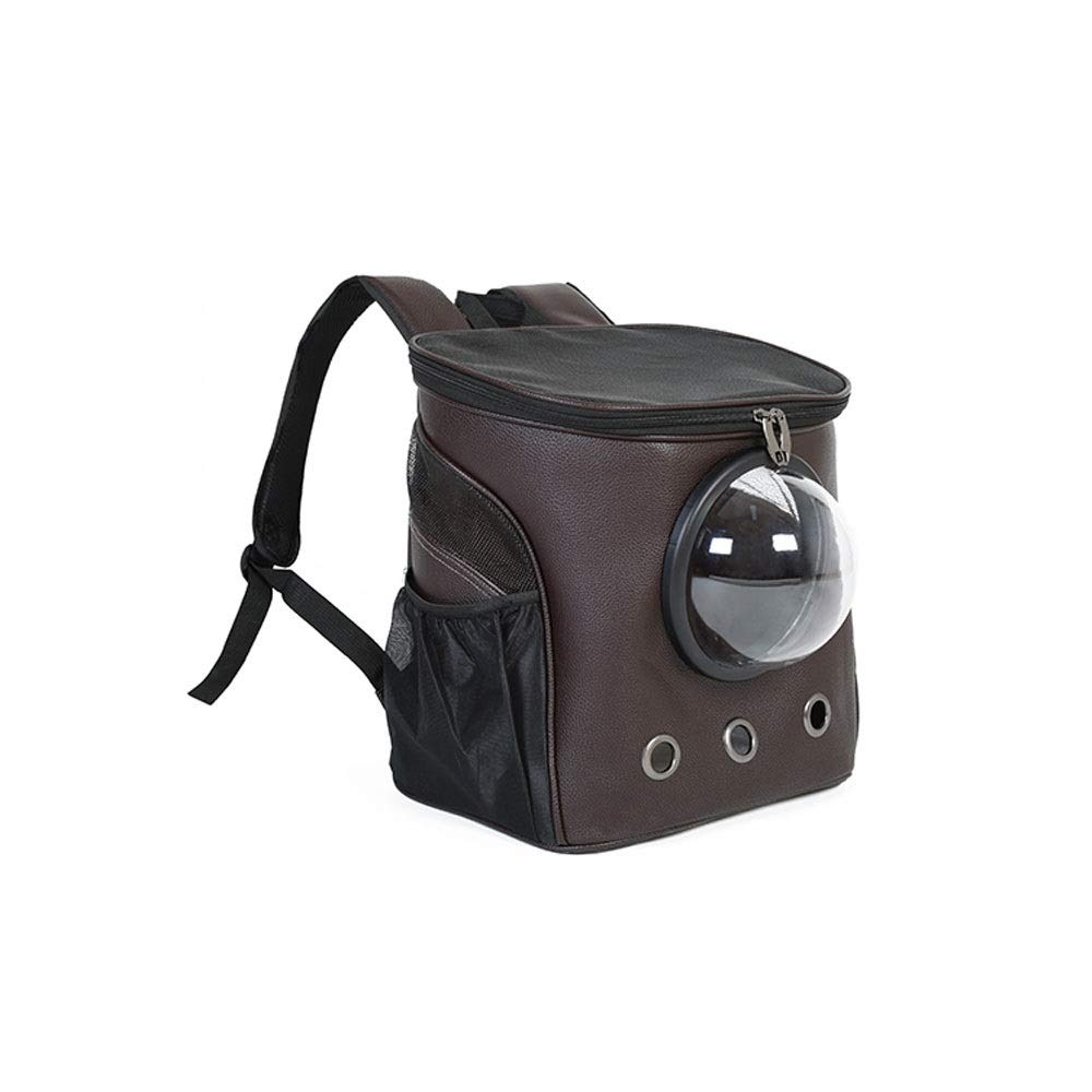 Brown Alapet Breathable Mesh Double Shoulder Space Bag, Cool and Breathable PU Leather Pet Backpack, Small Dog Out Portable Transparent cabin bag, Comfortable and Breathable, Stylish Appearance
