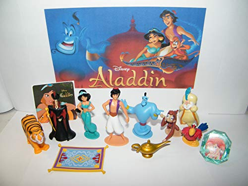 Aladdin Movie Figure 10 Set with bonus Aladdin Sticker and PrincessRing Includes The Genie, the Wish Lamp, Jafar, Aladdin, Jasmine, Jafar and the Magic Carpet!