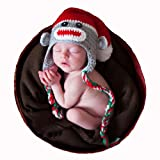 Melondipity Christmas Sock Monkey Baby Hat - Gender Neutral Holiday Beanie