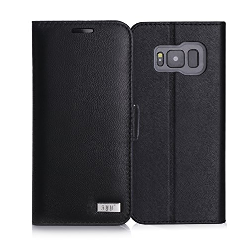 FYY Galaxy S8 Case,[RFID Blocking wallet] Premium Genuine Leather 100% Handmade Wallet Case Credit Card Protector for Samsung Galaxy S8 Black