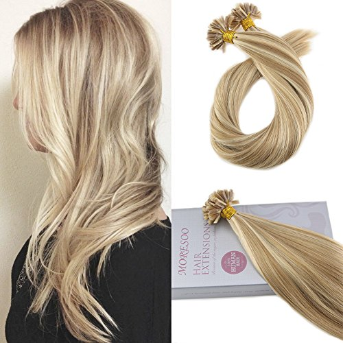 Moresoo 18 Inch Keratin Tip Human Hair Extensions U Tip Hair Remy Hair Extensions Color #14 Golden Blonde Highlighted with #613 Blonde Pre Bonded Hair Extensions 1g/1s 50G (Extensions Colour)