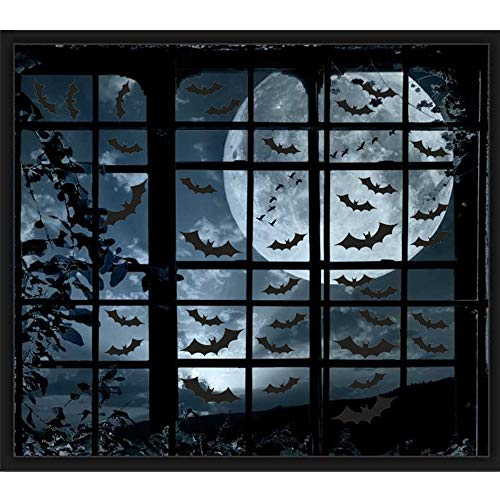 200PCS Halloween Window Clings Bat Decal Stickers - Halloween Party Decorations Supplies(10 Sheets)]()