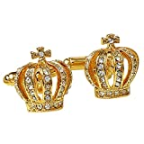 TOOGOO(R) 2PCS Crown Shaped Modern Men Wedding Party Shirt alloy Cufflink Gold